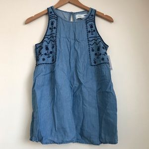 NWT Old Navy Maternity Embroidered Chambray Tank
